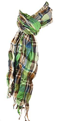P.M. Schals Herren Crinkle Schal blau grün braun weiss 100% Baumwolle