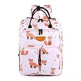Baby Wickelrucksack Wickeltasche Große Kapazität mit Wickelunterlage, Baby-Flaschen-Tasche Babytasche Reisetasche für Unterwegs Weiß