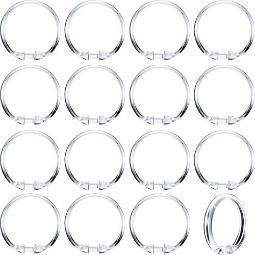 Hestya 20 Pack Plastic Clear Round Shower Curtain Rings for Bathroom Shower Rod