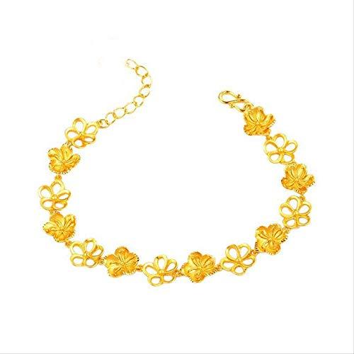 NOBRAND 18 cm + 3 cm joyería de la Boda Pulsera de Flores para Mujeres Nupciales 24 K Color Oro 18 cm con 3 cm