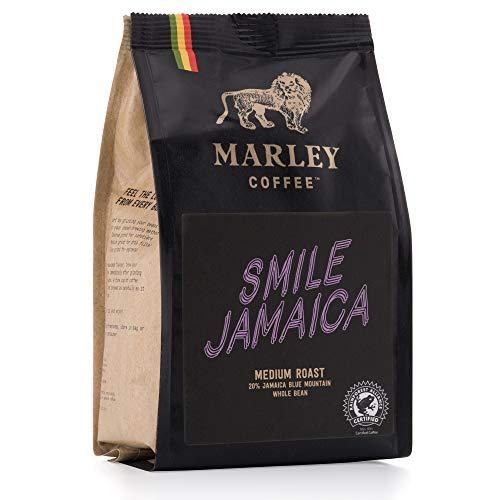 Smile Jamaica de Marley Coffee, 20% café Jamaica Blue Mountain mezcla, granos de café, tostado medio, de la familia de Bob Marley, 227g Café en Grano