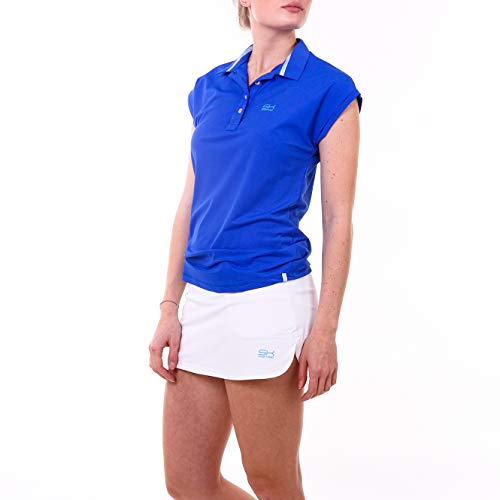 Sportkind Mädchen & Damen Tennis, Golf, Funktions Poloshirt Loose Fit, UV-Schutz UPF 50+, atmungsaktiv, Kobaltblau, Gr. S