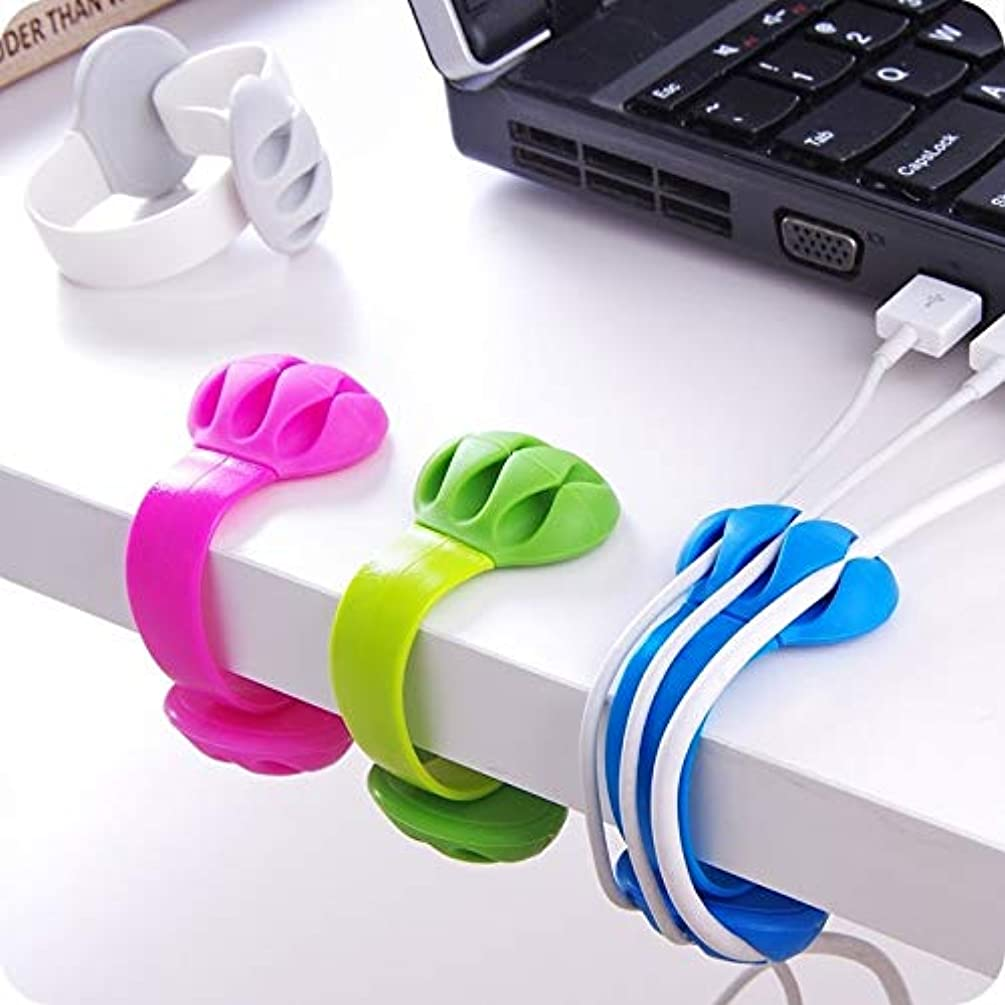 Desk Cable Clips Triple Slots Desktop Cable Organizer Wire Cord Management System Office Table Securing Clamp (Red)