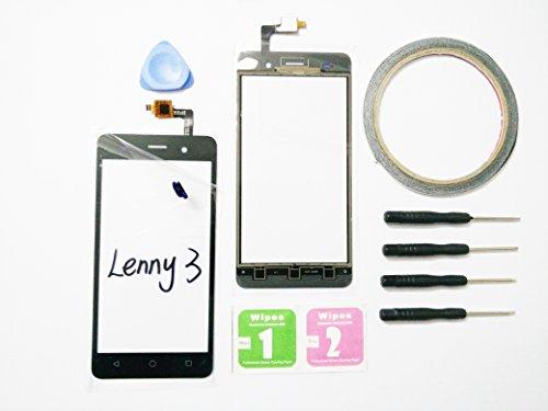 JRLinco Für Wiko Lenny 3Glas Bildschirm Display Touchscreen Ersatzteil (Ohne LCD) Outer Glass Replacement+Werkzeuge & doppelseitigen Kleber + Alkohol Reiniger Paket (Für Wiko Lenny 3, Schwarz)