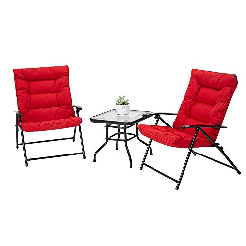 ECOTOUGE 3 Pieces Patio Conversation Chair Set Paded Outdoor Furniture Bistro Set Porch Chairs with Glass Coffee Table, Red