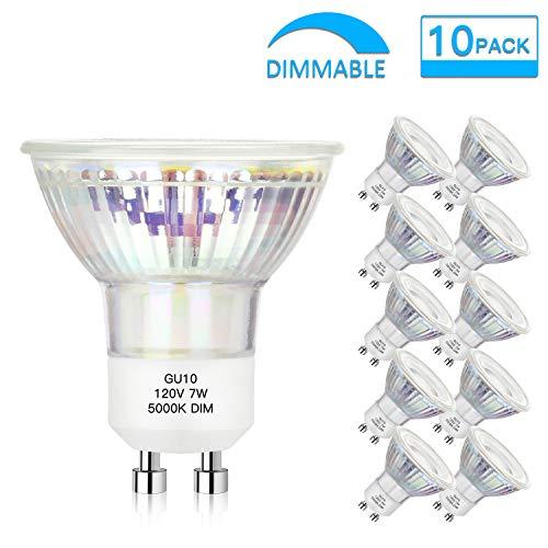 Dimmable GU10 LED Spotlight Bulbs 7W(50W 60W Equivalent), Daylight White 5000K GU10 Track Light Bulbs, 600Lumens, 25000+ hrs, Flood Light, MR16 Full Glass Cover Bulb (Pack of 10)