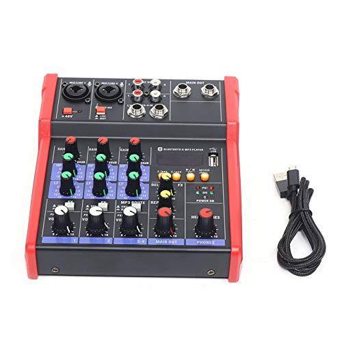 Mesa de mezclas de audio profesional de 4 canales, USB, Bluetooth, música estéreo.