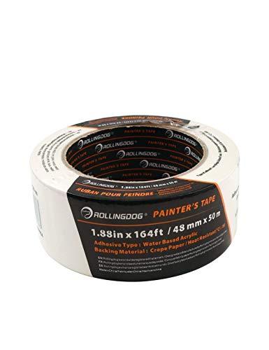ROLLINGDOG Malerkrepp Kreppband (48 mm x 50 m) für Innenmalerei und Dekoration für scharfe Linien und keine Rückstände. Kann für runde Fliesen, Schränke, Decken und Sockelleisten verwendet werden