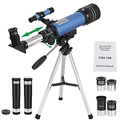 HomGarden 70mm Telescope for Kids and Astronomy Beginners, Portable Refractor Telescope with Tripod & Finder Scope, Travel Scope with 3 Magnification Eyepieces & Moon Mirror