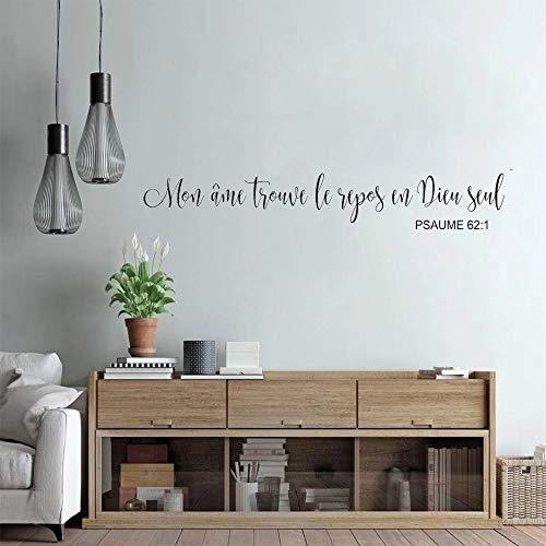 Pared cristiana Mi alma descansa en Dios Pared Salmos Vinilos decorativos Versículos de la Biblia   Adecuado para sala de estar Fondo de TV Decoración de dormitorio