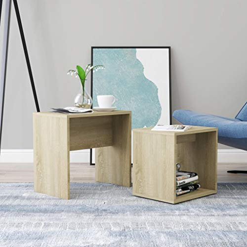 vidaXL Coffee Table Set Home Interior Living Room Furniture Accent Side Tea Couch Sofa Laptop Nesting Stand Sonoma Oak 48x30x45cm Chipboard