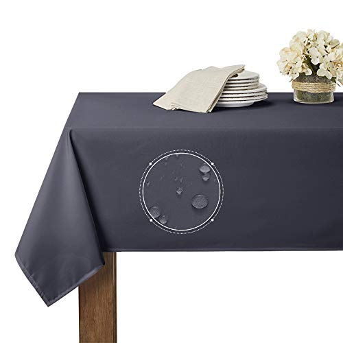 RYB HOME Waterproof Table Cloth for 6 ft Rectangle Tablecloth Scratch Resistant, Wrinkle Free and Spillproof Washable Polyester Table Cover Dining Buffet Banquet Restaurant, 60 x 84 inch, Grey