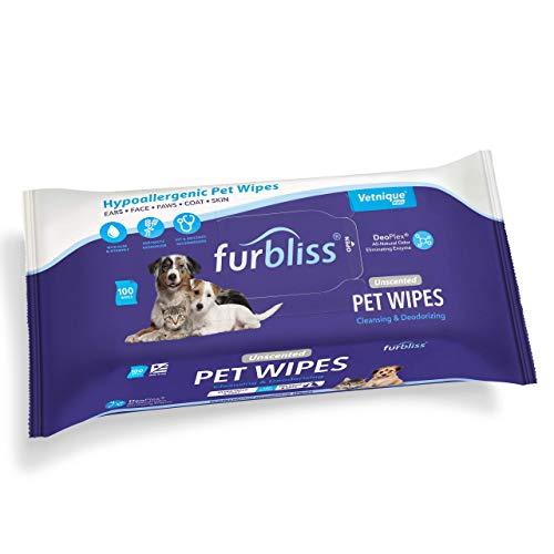 Furbliss Toallitas para Mascotas Perros y Gatos, toallitas desodorizantes desodorizantes y Gruesas con Todos los desodorizantes Naturales de Deoplex 100ct (Sin Perfume, 100ct Paquete)