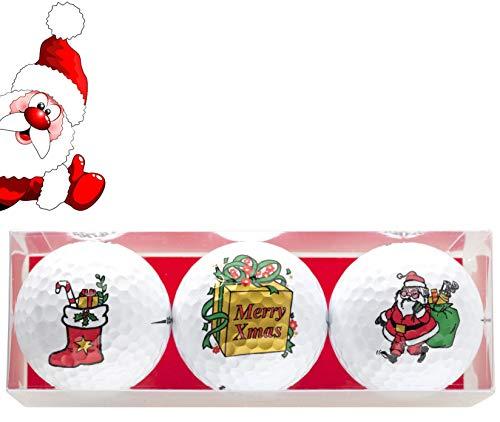 Golfgeschenk 3 Golfbälle im Weihnachts-Design Nikolausstiefel, Geschenk, Santa