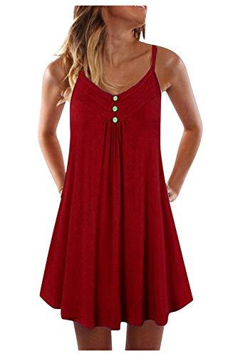 Vestido Playa Mujer Corto Verano Vestido Plisado Niña Color