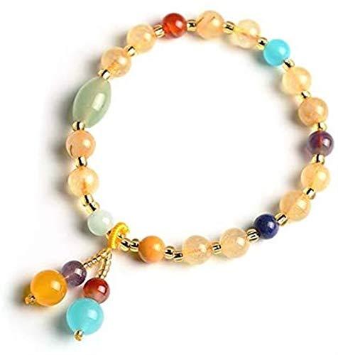 Feng Shui Pulsera de cristal de múltiples gemas Multi-gem Brazillian Golden Rutilated Crystal Rainbow Sanación Siete Charka Piedras Gemstones Talismán Para Prosperidad De Riqueza Percepción de Lideraz