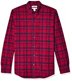 Amazon Essentials Men's Regular-Fit Plaid Long-Sleeve Pocket Oxford Shirt, Red Windowpane, Large