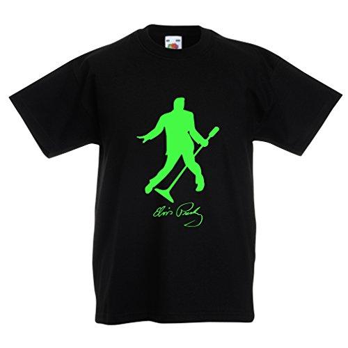 lepni.me Camiseta para Niño/Niña Me Encanta el King of Rock and Roll, 50s, 60s, 70s, Music Fan (9-11 Years Negro Verde)