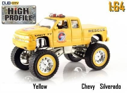 Jada Dub City High Profile Yellow Chevy Silverado Surf Patrol Rescue Truck 1:64 Scale Die Cast Car
