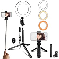 Travor 6 Inch Dimmable LED Selfie Ring Light with Adjustable Stand with Remote Control, 3 Modes and 11-Level Brightness