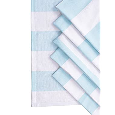 Villa Tranquil Napkins, 100% Cotton, set of 6, Twill stripe, Over-sized Dinner Napkins, Eco-Friendly and safe, sky blue/white color, for all homes, size 20 x20 .