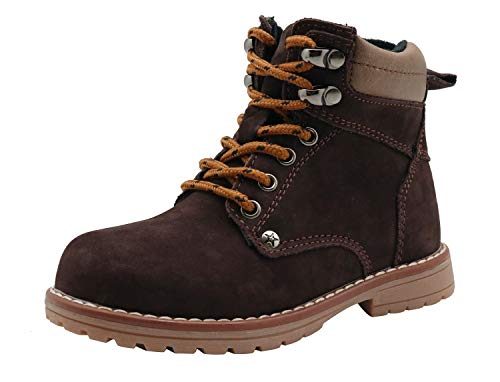 Apakowa Kids Boys Classic Lace Up Suede Leather Boots (Toddler/Little Kid) Darkbrown