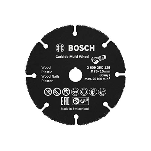 Bosch Professional 260925C125 Disco de Corte Carbide Multi Wheel, Madera con Clavos, plástico, Paneles de Yeso, Tubos de Cobre, Ø 76 mm, diámetro del Or, Na, 10 mm