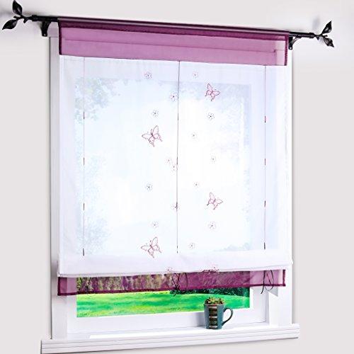 Yujiao Mao Bändchenrollo mit Besticke Schmetterlinge Transparent Raffgardinen Raffrollo Violett BxH 100x140cm
