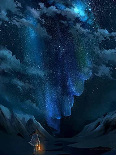 Kit digital de pintura de diamantes 5D, pintura de punto de cruz, bordado de diamantes de imitación (cielo estrellado, 30 x 40)