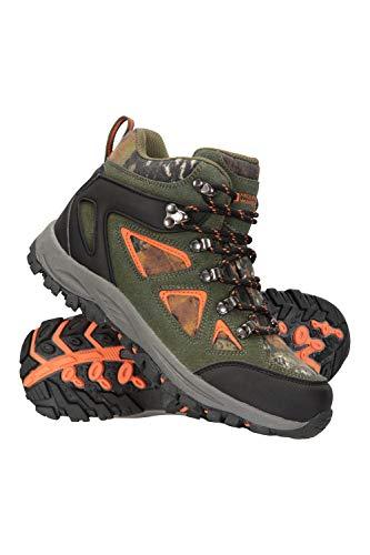 Mountain Warehouse Waterproof Kids Boots - Breathable Hiking Shoes Khaki Kids Shoe Size 2 US