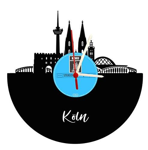Wanduhr Köln Skyline ohne Ziffernblatt dafür Originallabel, Schallplattenuhr mit Quarzwerk