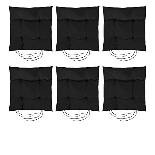 Gardenista Garden Chair Seat Cushion with Ties | Slip Free Hypoallergenic Tufted Pad | Water Resistant Thick Quality | Great for Indoors & Outdoors | Secure Ties | 6 Pieces (Black)