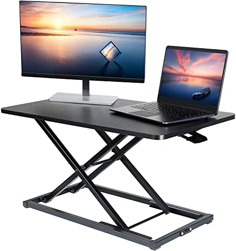ELIVED Sitz Steh Schreibtisch 78x44cm Stehpult Aufsatz Schreibtisch für PC Computer Monitor Laptop bis 10kg, 35 Zoll Computertisch höhenverstellbar, Doppelmonitor-Riser, Sit Stand Workstation EV040