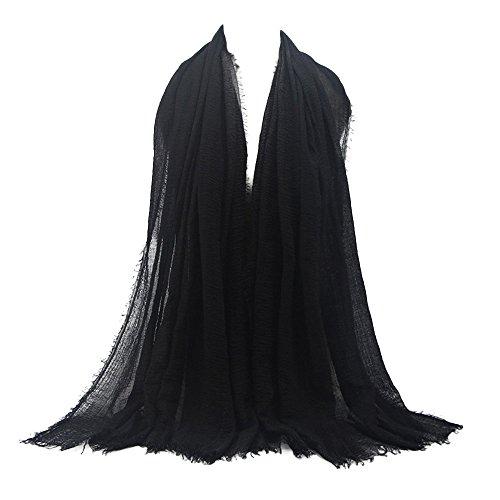 KPILP Premium Viskose Maxi Crinkle Cloud Hijab Schal Pashminas Soft Islam Muslim Kopftücher Umhang,Schwarz 13#