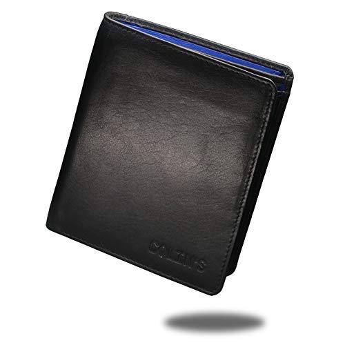 Colin's Geldbörse Herren Leder RFID - Schutz I Hochformat l für 10-12 Kreditkarten I RFID Schutz I Münzfach, Außenfach, Geheimfach für große Scheine