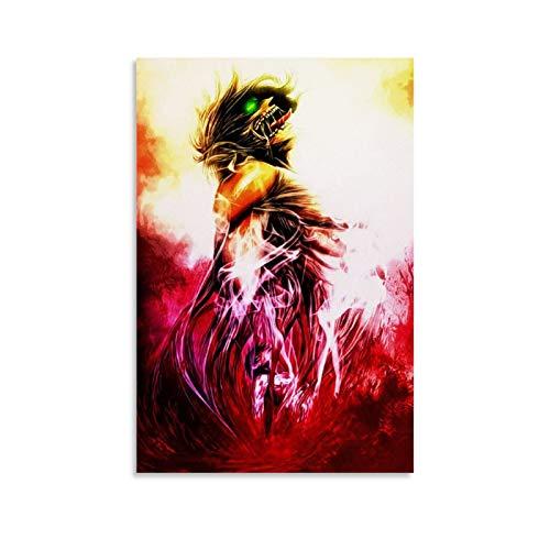 """WODETA - Poster decorativo su tela """"Attack on Titan Eren"""", decorazione da parete, per soggiorno, camera da letto, 30 x 45 cm"""
