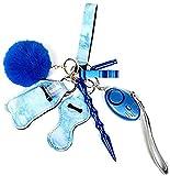 Lot de 9 trousseaux de clés avec alarme personnelle - Unisexe - Bleu