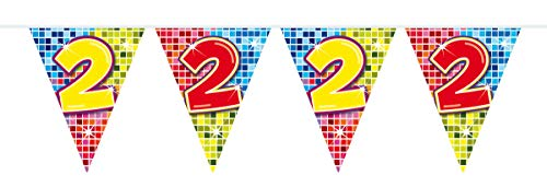 Wimpelkette * 2. Geburtstag * mit 12 Wimpel für Party und Geburtstag // Kindergeburtstag Kinder Feier Fete Set Disco Deko Girlande Partykette Banner zwei