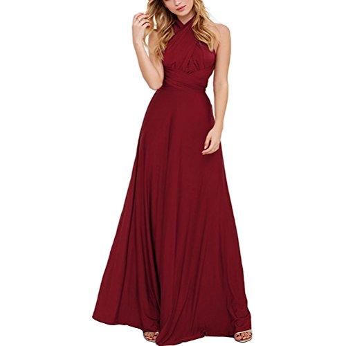 JET-BOND Infinity Night Dress Multi-Way Wrap Camisoles Halter Floor Long Dress High Elasticity FS41 (L, Wine)