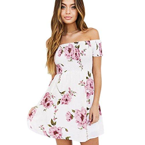 Kleid Damen Kolylong® Frauen elegant aus Schulter Blumen gedruckt Kleid Minikleid Party Kleid Strandkleid Abendkleid Sommer kurzes Kleid (M, Rosa)