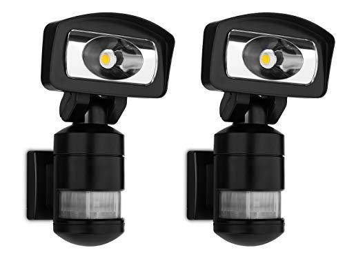2er Set LED Roboter Sicherheitsleuchte, SMARTWARES Außenfluter mit Bewegungsmelder & Verfolgungsfunktion