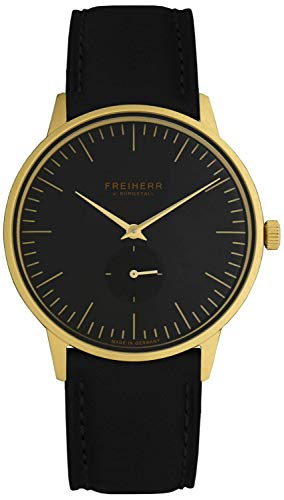 Freiherr Berlin Quartz Watch with Leather Wriststrap - Men & Women - Black/Gold