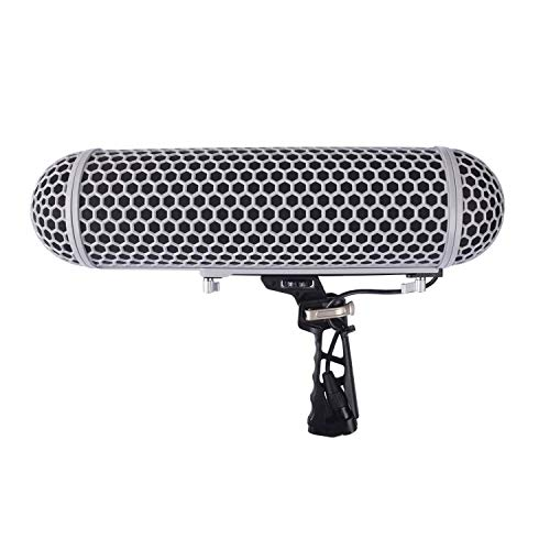 Micolive Microphone Windshield Blimp Windscreen Style Protect Cage and Rycote Shock Mount Suspension System Compatible with Rode NTG1 NTG2 NTG3 NTG4 AT875R Line MKE 600 Series Shotgun Microphones etc