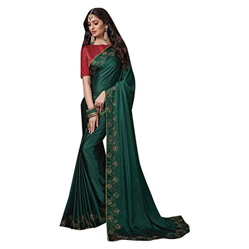 ETHNIC EMPORIUM dames groen noble satijn Swarovski steen werk saree mooie blouse Sari Indiase mode-vrouwenpartij formele 8112 6,25 m zoals getoond