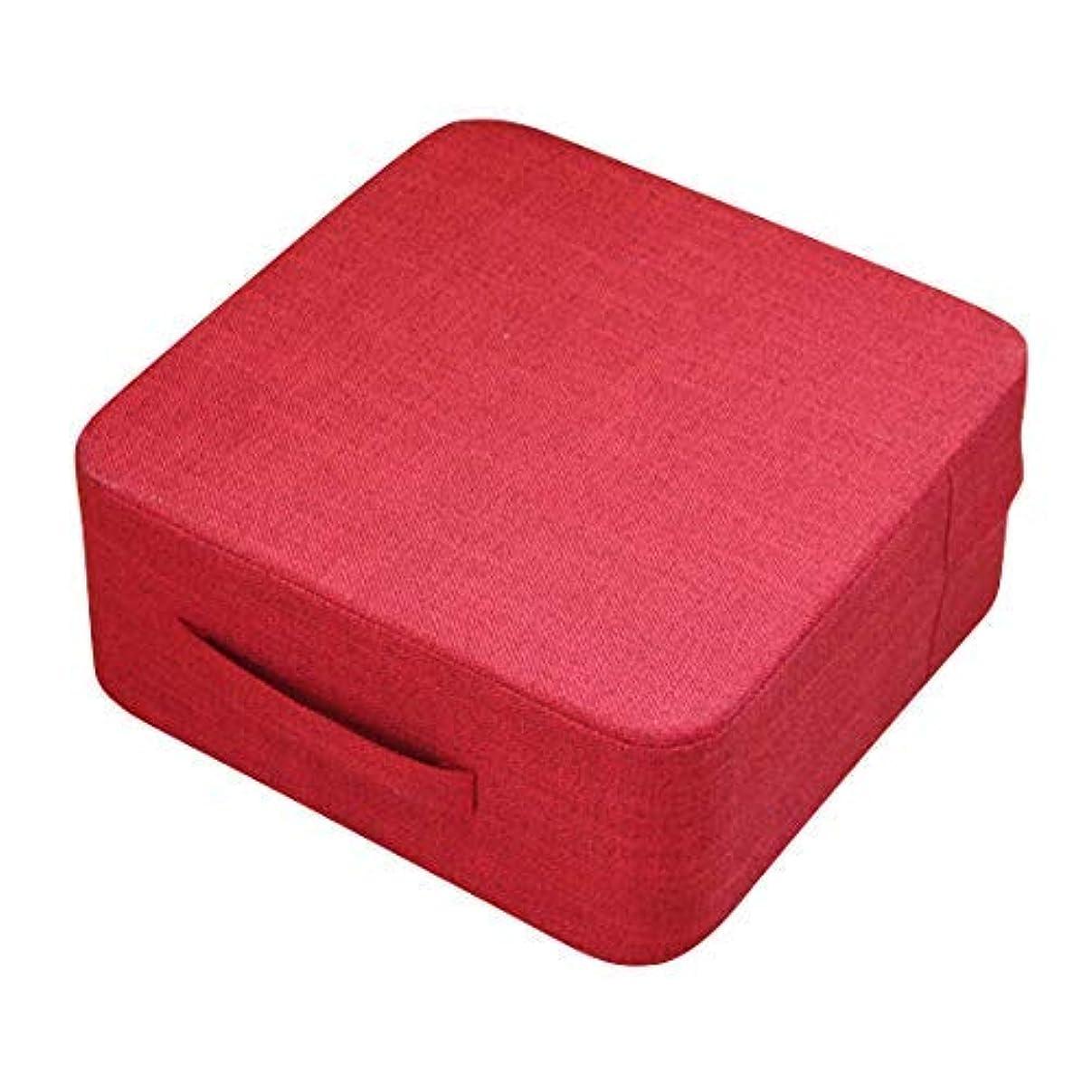 批評トイレ合金クッション 四角形 厚いクッション 厚い座布団 足置き カバー洗濯可能 高反発 レッド 赤 40*40*18(fab-21)
