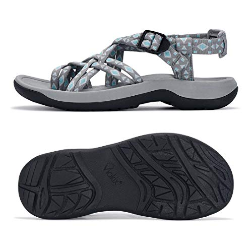 Viakix Walking Sandals Women – Comfortable Athletic Sandles with Arch Support, for Hiking, Outdoors, Water, Sports Trekking Grey
