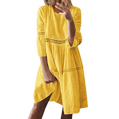 YUHUISTART Kleid Damen Sommer Boho Feste Rundhalsausschnitt Dress Blusenbody Aushöhlen Splice Lange Ärmel Mittellanges Kleid