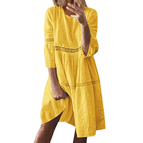 Sannysis Damen Sommerkleider Einfarbig Strandkleider Kurzarm Casual A-Linie Kleid Strandponcho Bikini Cover Up Tunika Kleider Knielang (XXL, Gelb)