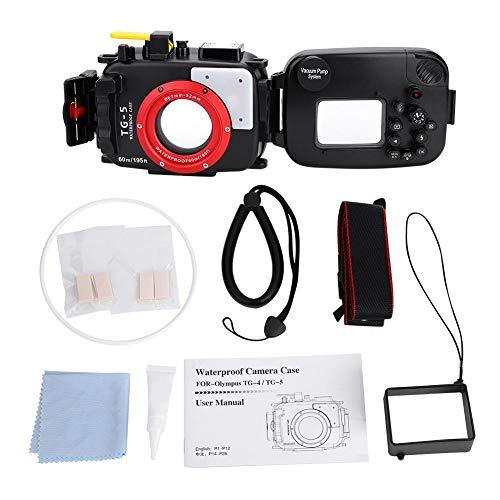 Elerose 60m / 195ft waterdichte onderwaterbehuizing Pro Duiken voor Olympus TG4 / TG5 52-67mm lens camera, Olympus TG5