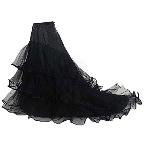 JERKKY Petticoat 1 Stuk 3-laags Garen 2-hoepels Bruid Bruidsjurk Lange Trailing Rok Petticoat Elastische Taille Trekkoord Verstelbare Vissenstaart Slip Rokken